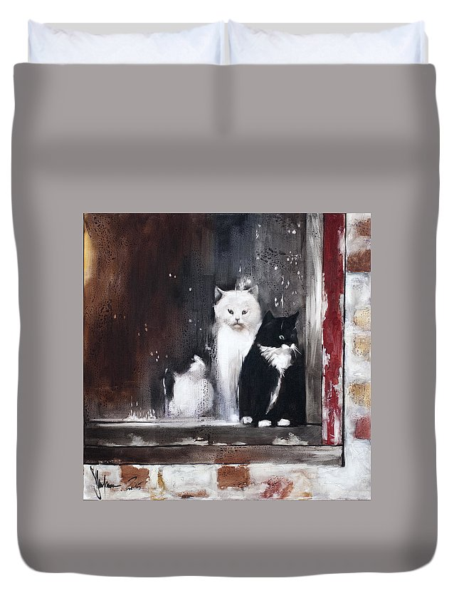 Painting Duvet Cover featuring the painting Bad Company by Igor Shulman