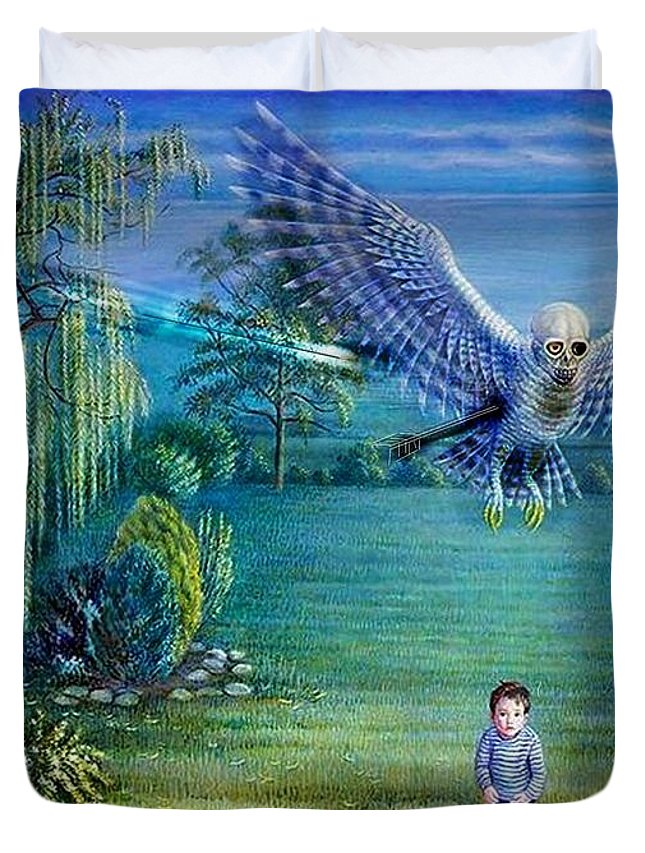 Owl Duvet Cover featuring the drawing Bad Day For Stigini by Christopher Tobey
