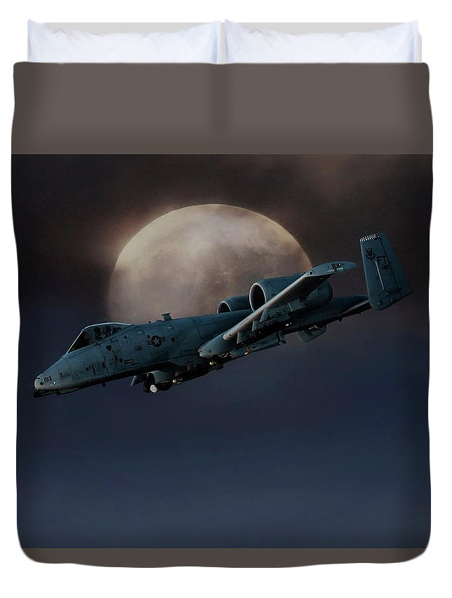 Fairchild Republic A-10 Thunderbolt Ii Duvet Cover featuring the digital art Bad Moon by Peter Chilelli