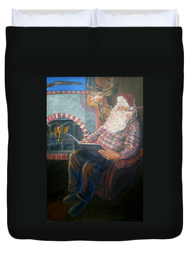 Christmas Duvet Cover featuring the painting Bad Rudolph by Bryan Bustard