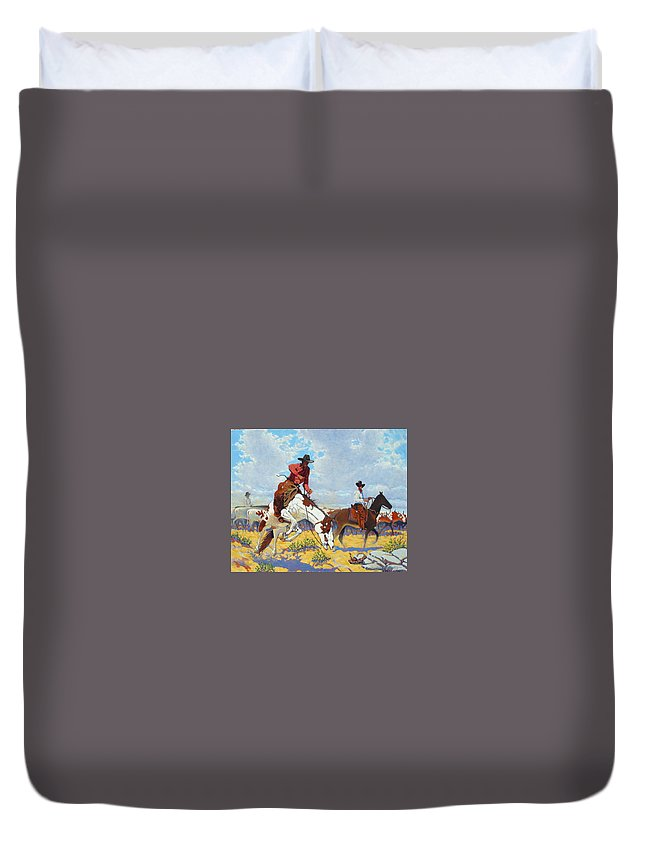 Cowboy Duvet Cover featuring the painting Bad Start To A Good Day by Jim Bob Swafford