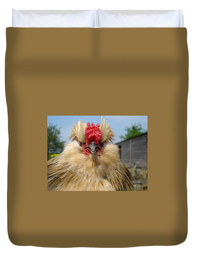 Rooster Duvet Cover featuring the photograph Bad Tempered Bearded Bantam by Susan Baker