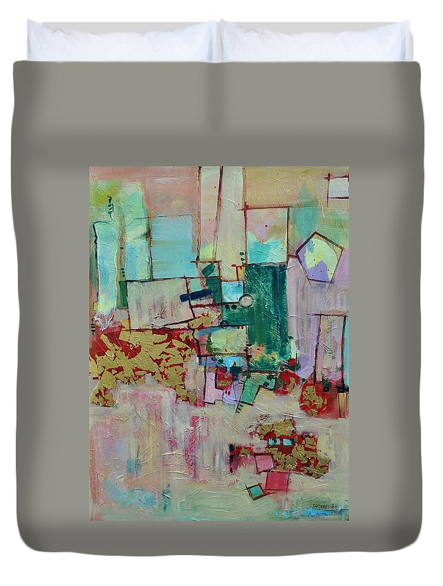 Geometric Abstract Duvet Cover featuring the painting BadaBing by Ginger Concepcion