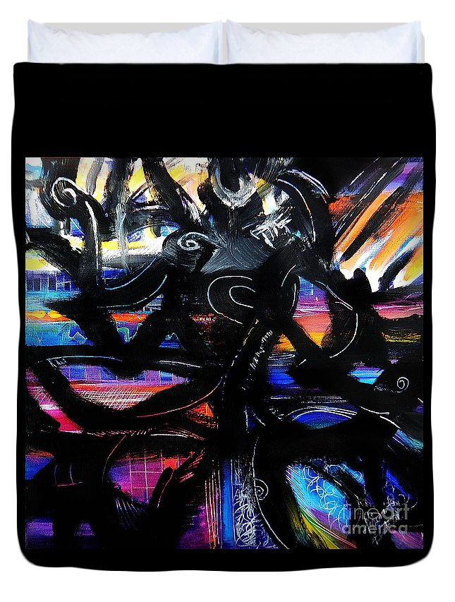 Original Painting On Canvas .abstract Duvet Cover featuring the painting Badass Black by Priscilla Batzell Expressionist Art Studio Gallery