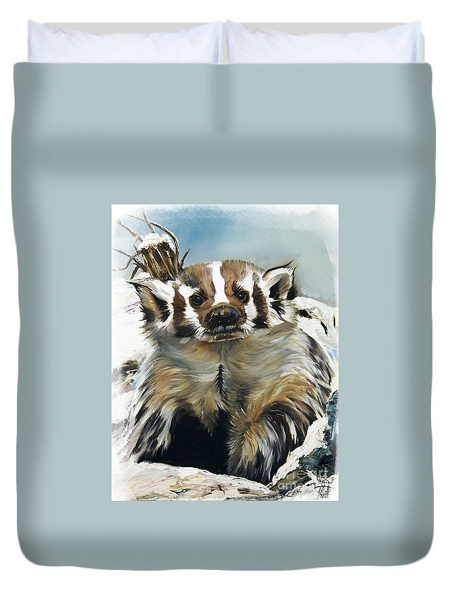 Southwest Art Duvet Cover featuring the painting Badger - Guardian Of The South by J W Baker