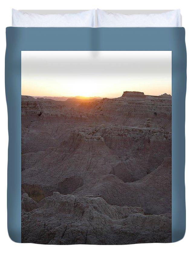 Badlands Duvet Cover featuring the photograph Badlands At Sunup by Caroline Kohler