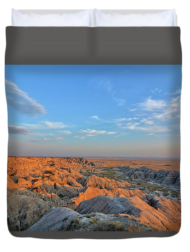 Badlands Duvet Cover featuring the photograph Badlands Evening by Bonfire Photography