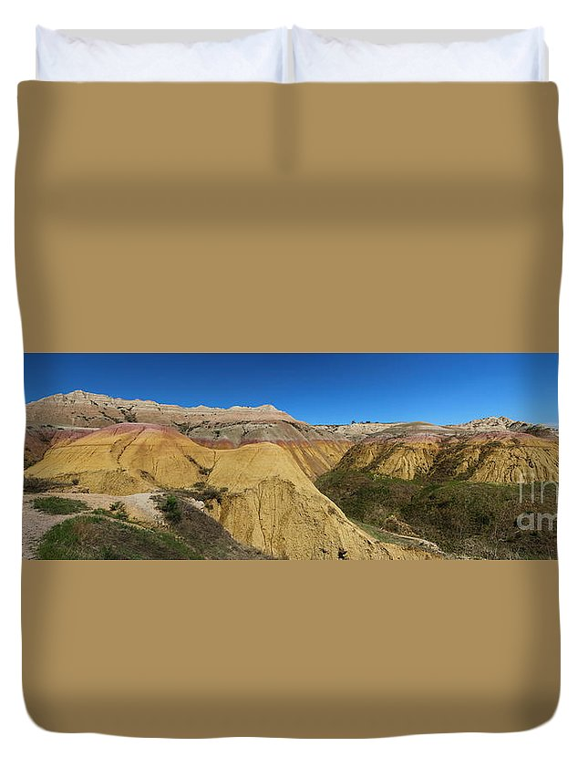 Duvet Cover featuring the photograph Badlands Panorama by Christiane Schulze Art And Photography