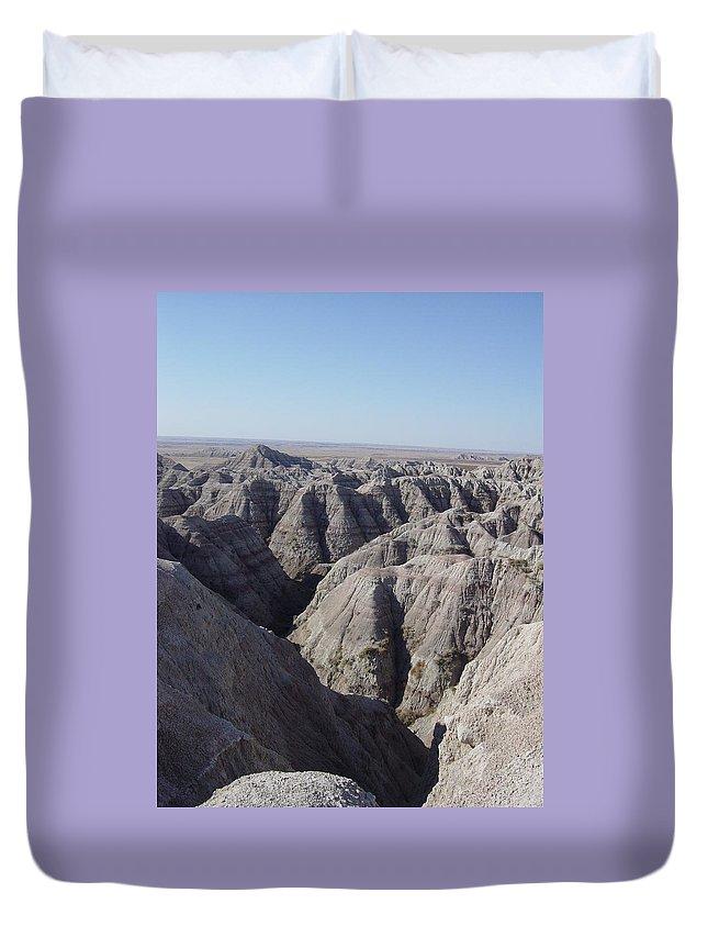 Badlands Duvet Cover featuring the photograph Badlands S.dakota Landscape by Caroline Kohler