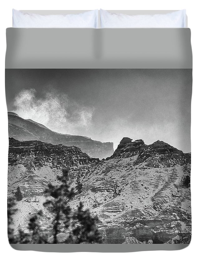 Black And White Duvet Cover featuring the photograph Badlands Winter by Bill Sincavage