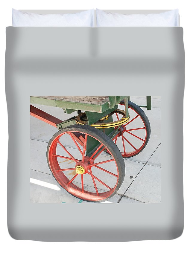 Baggage Cart Duvet Cover featuring the photograph Baggage Cart by Rob Hans