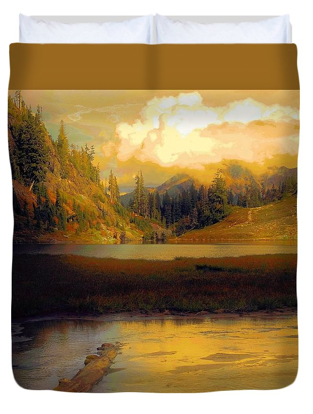 Trees Duvet Cover featuring the photograph Bagley Lake by Sandra Peery