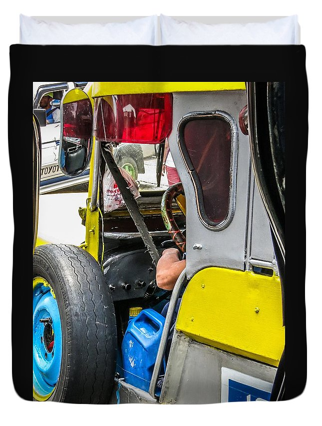 Baguio Duvet Cover featuring the photograph Baguio Jeepneys 5 by Mark Sellers