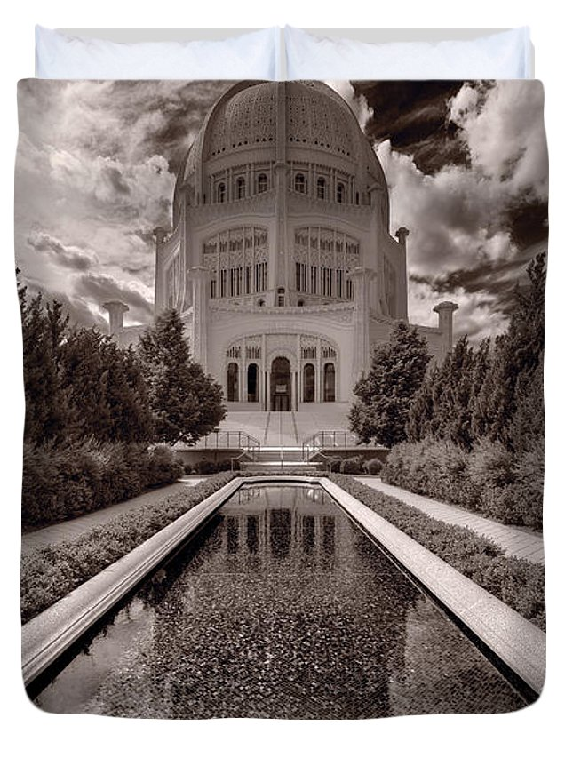 Bahai Duvet Cover featuring the photograph Bahai Temple Reflecting Pool by Steve Gadomski
