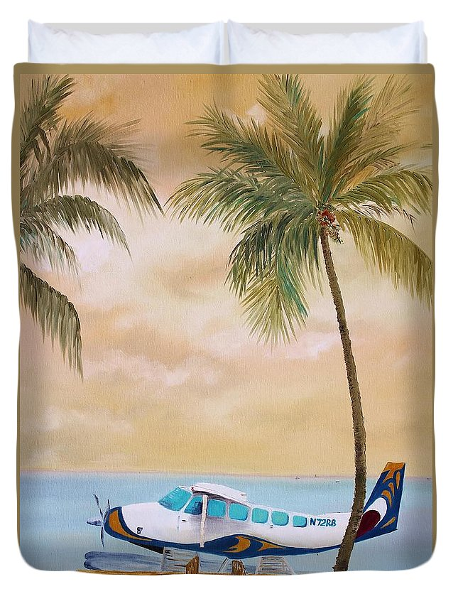 Airplane Duvet Cover featuring the painting Bahama Bound by Nadia Bindr