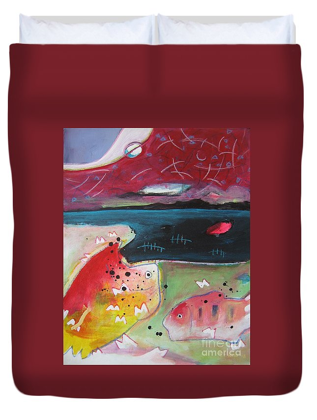 Acrylic Paintings Duvet Cover featuring the painting Baieverte by Seon-Jeong Kim