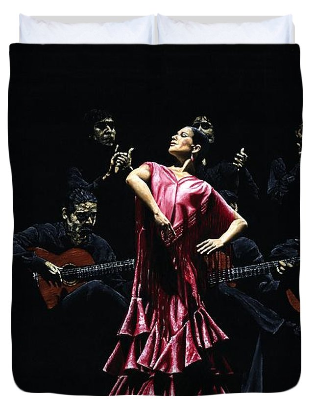 Flamenco Duvet Cover featuring the painting Bailarina Orgullosa Del Flamenco by Richard Young