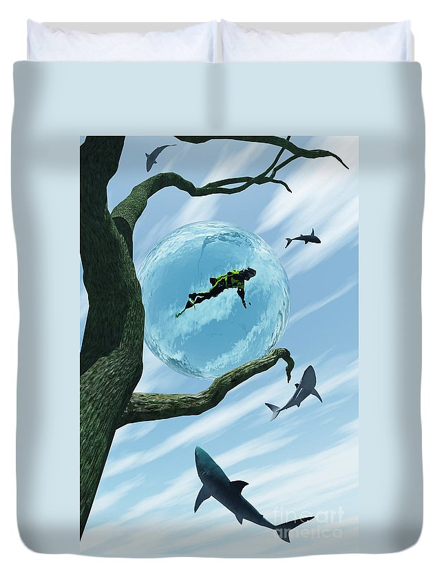 Surreal Duvet Cover featuring the digital art Bait by Richard Rizzo