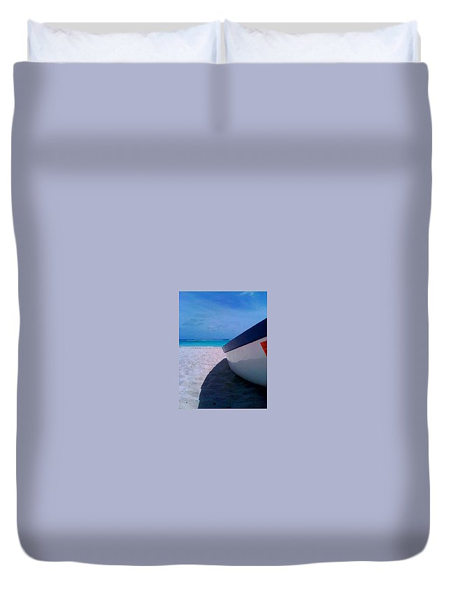 Beach Duvet Cover featuring the photograph Bajan Boat by Elinor Schwob