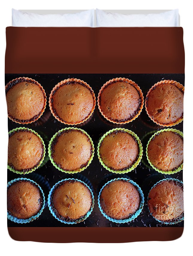 Muffin Duvet Cover featuring the photograph Baked Cupcakes by Carlos Caetano