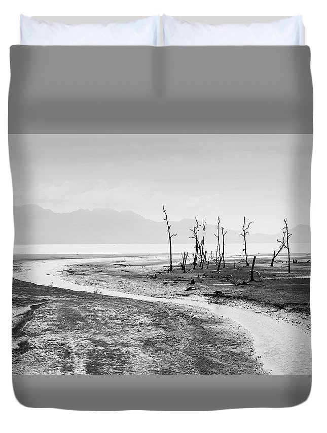 Black And White Duvet Cover featuring the photograph Bako National Park At Low Tide. by Louise Welcome