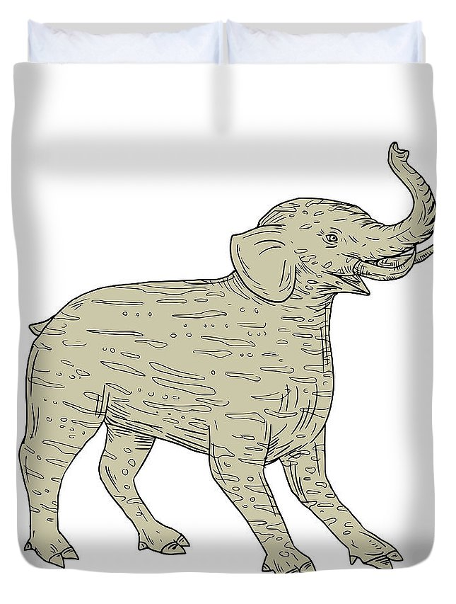 Drawing Duvet Cover featuring the digital art Baku Side Drawing by Aloysius Patrimonio