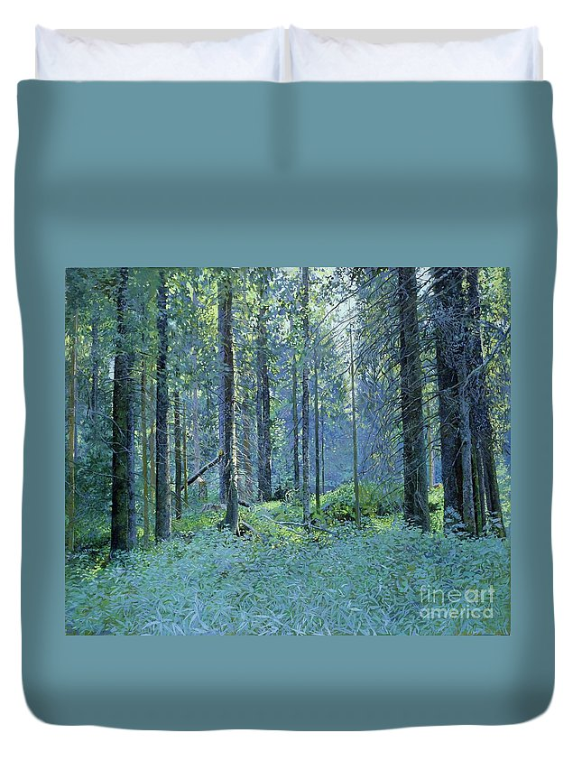 Balaam Duvet Cover featuring the painting Balaam.thick Of The Forest by Simon Kozhin
