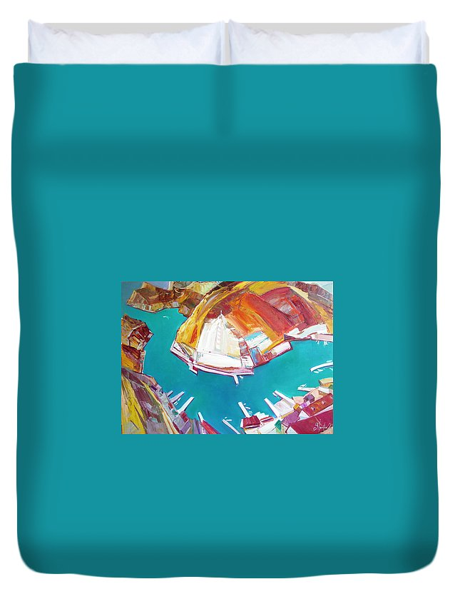 Ignatenko Duvet Cover featuring the painting Balaklaw Bay by Sergey Ignatenko