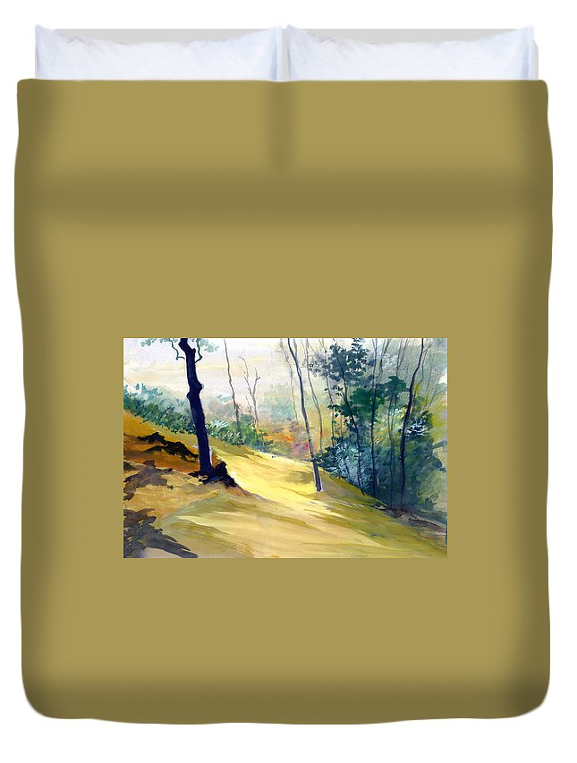 Landscape Duvet Cover featuring the painting Balance by Anil Nene