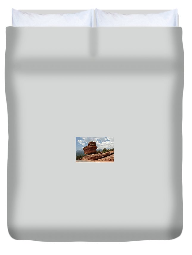 Colorado Duvet Cover featuring the photograph Balance Rock by Anita Burgermeister