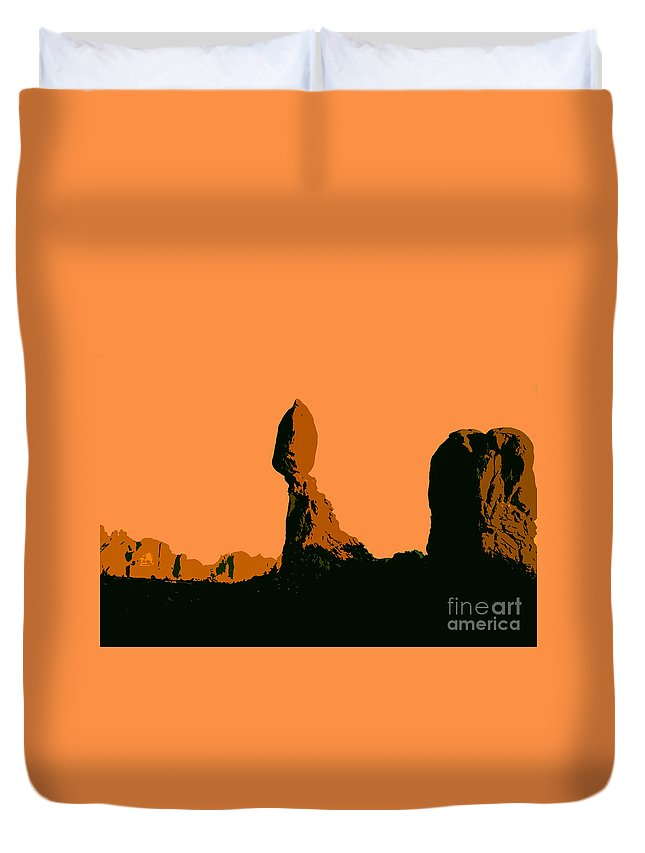 Balance Rock Duvet Cover featuring the painting Balance Rock by David Lee Thompson