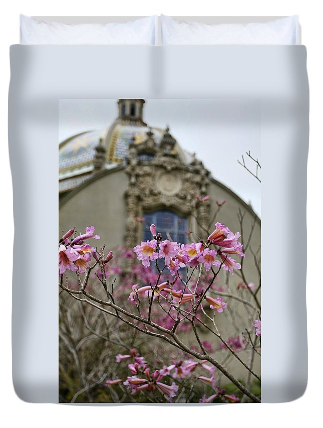 Balboa Park Duvet Cover featuring the photograph Balboa Park Building And Spring Flowers - San Diego by Waterdancer