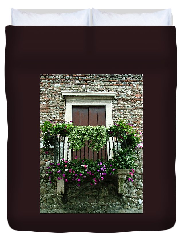 Italy Duvet Cover featuring the photograph Balcony On Pebbled Wall by Donna Corless