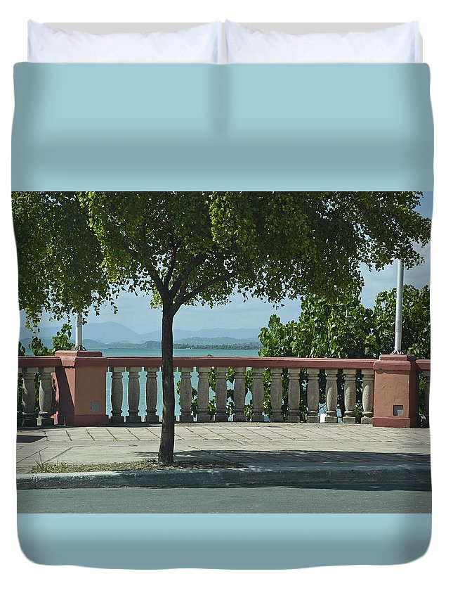 Landscape Duvet Cover featuring the photograph Balcony On The Beach In Naguabo Puerto Rico by Tito Santiago