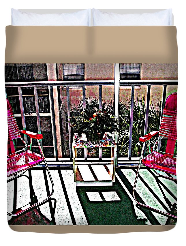 Balcony Duvet Cover featuring the mixed media Balcony by Peggy De Haan