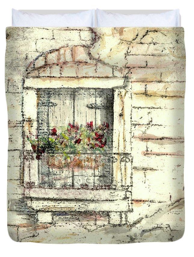 Venice Duvet Cover featuring the painting Balcony Venice by Richard Bulman