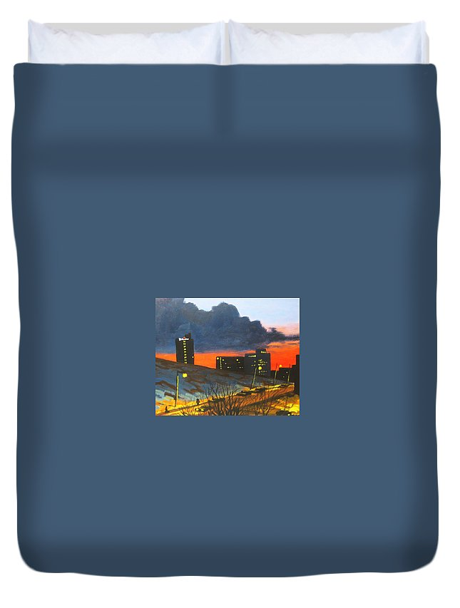 Sunset Duvet Cover featuring the painting Balcony View 2 by John Malone