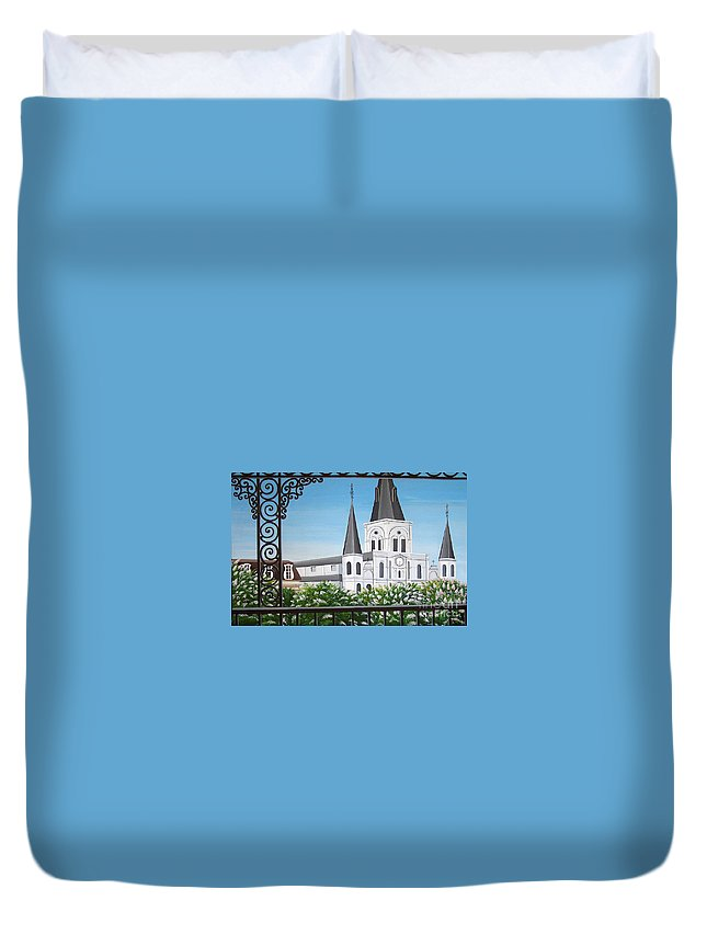 New Orleans Duvet Cover featuring the painting Balcony View Of St Louis Cathedral by Valerie Carpenter