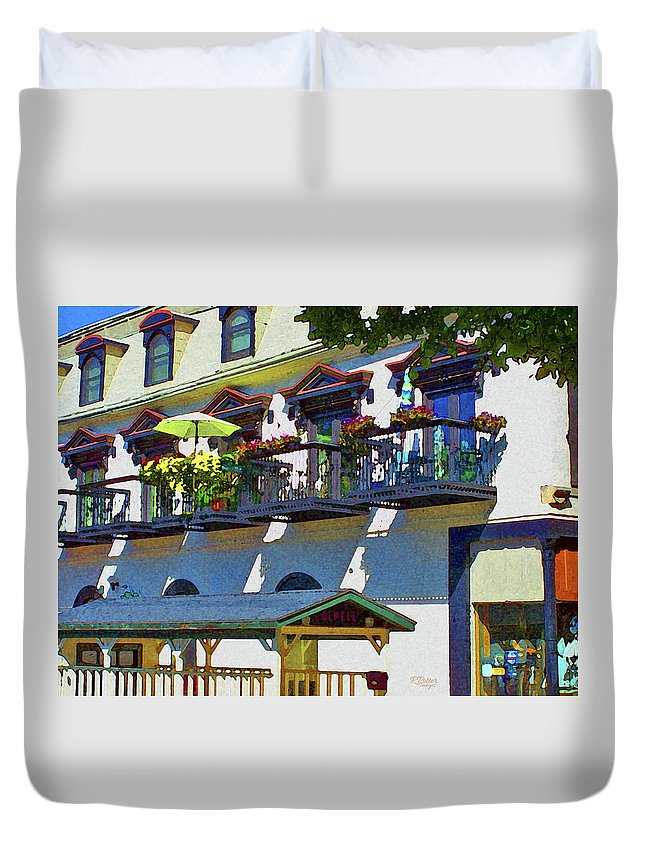 Balcony Duvet Cover featuring the mixed media Balcony View by Ron Potter