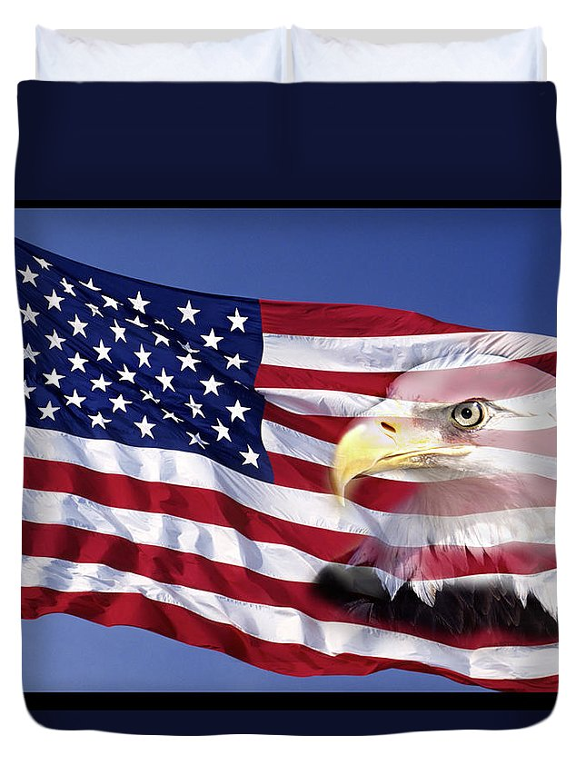 Photography Duvet Cover featuring the photograph Bald Eagle On Flag by Panoramic Images
