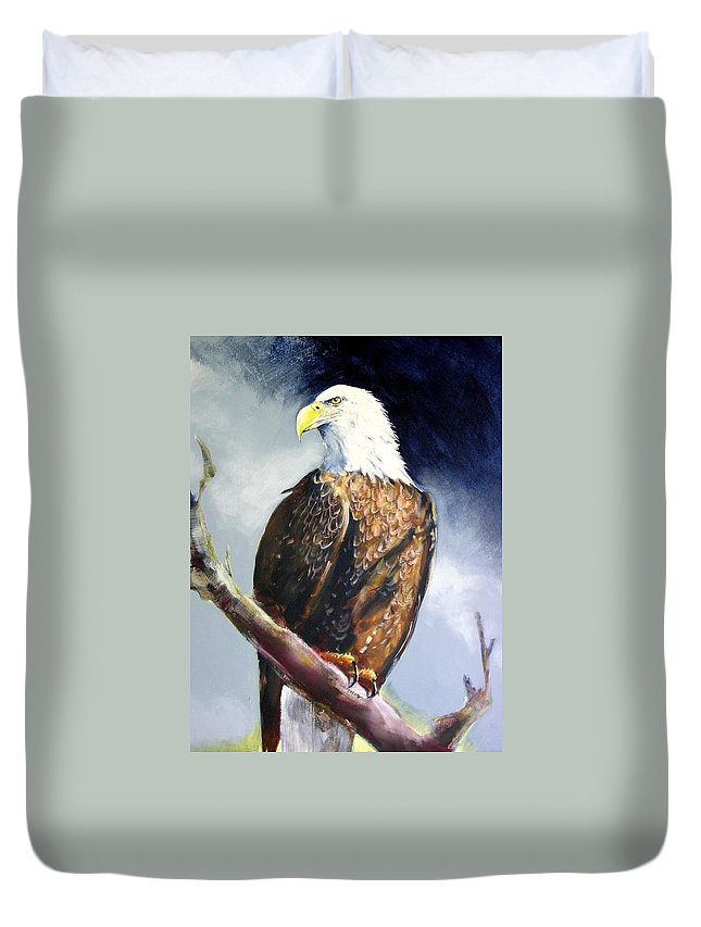 Wildlife Duvet Cover featuring the painting Bald Eagle by Paul Miller