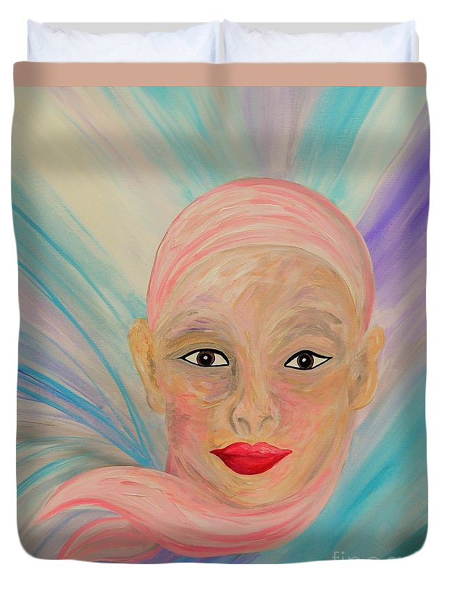 Bald Duvet Cover featuring the painting Bald Is Beauty With Brown Eyes by Eloise Schneider Mote