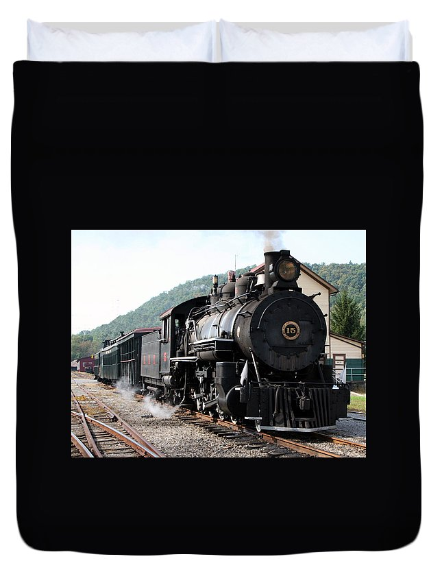 Locomotive Duvet Cover featuring the photograph Baldwin Locomotive Number Fifteen by Rebecca Smith