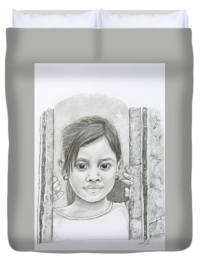 Bali Duvet Cover featuring the drawing Bali Girl by Gregory Hayes