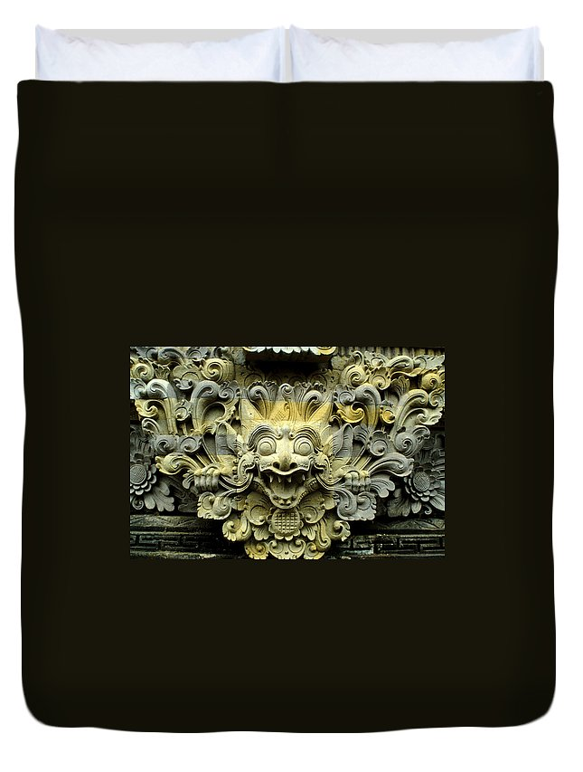 Bali Duvet Cover featuring the photograph Bali Temple Art by Jerry McElroy