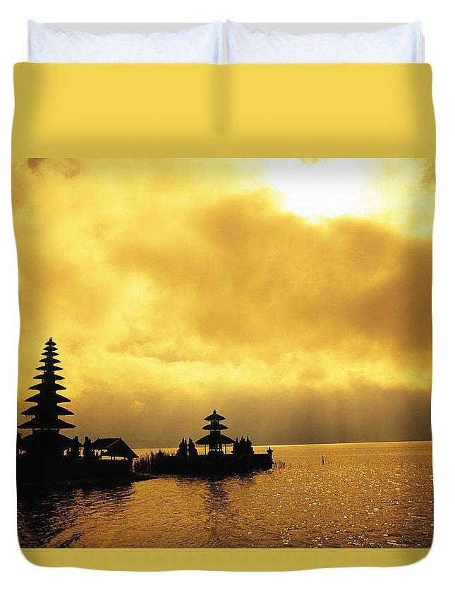 Architectural Duvet Cover featuring the photograph Bali, Temple by Dana Edmunds - Printscapes