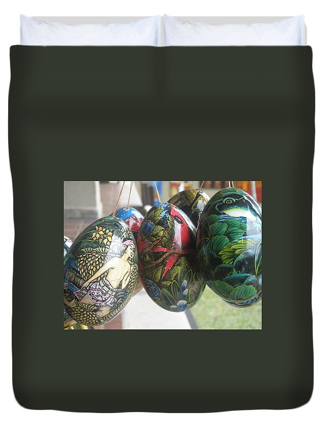 Bali Duvet Cover featuring the photograph Bali Wooden Eggs Artwork by Mark Sellers