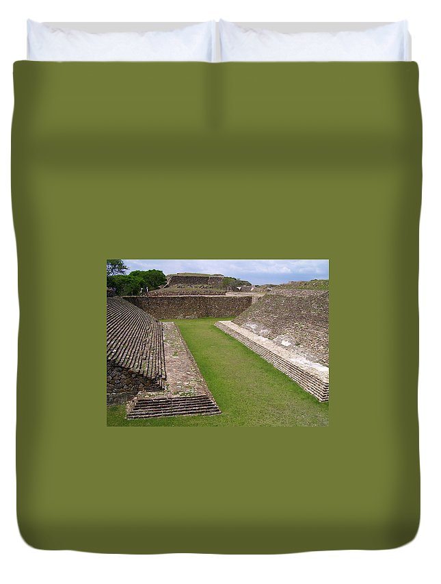 Monte Alban Duvet Cover featuring the photograph Ball Court by Michael Peychich