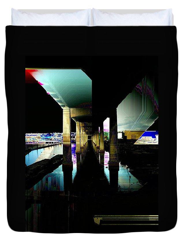 Seattle Duvet Cover featuring the digital art Ballard Bridge by Tim Allen