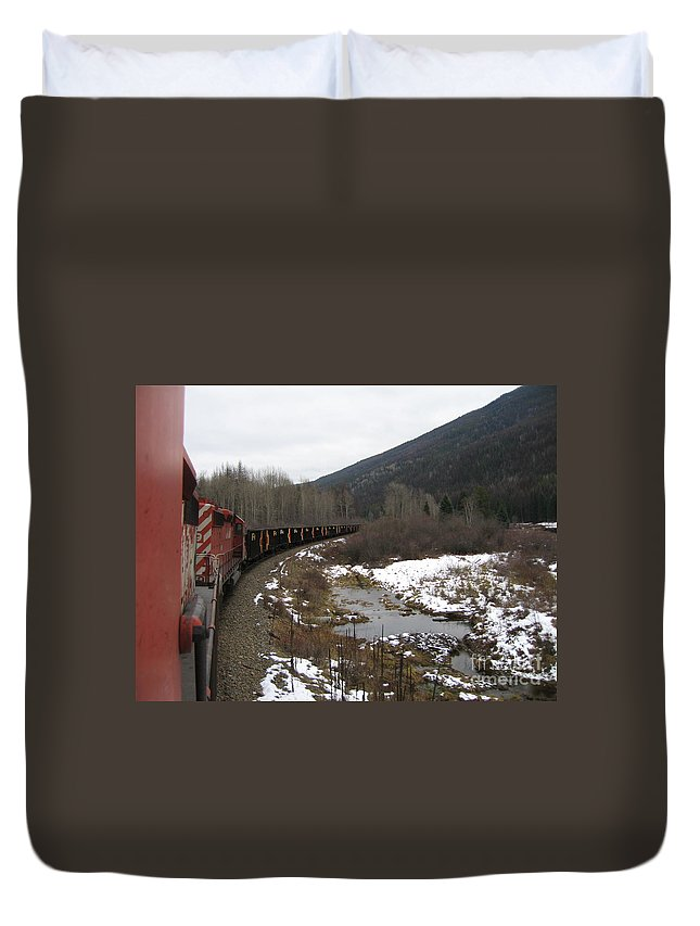 Photograph Train Mountain Snow Winter Tree Nature Duvet Cover featuring the photograph Ballast Train by Seon-Jeong Kim